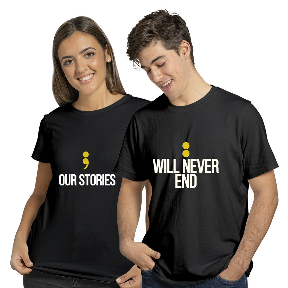 Our Stories Will Never End | Couples and Family | Round Neck Half Sleeve