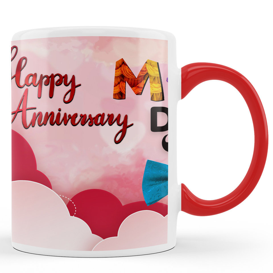Printed Ceramic Coffee Mug | For Loved Ones | Happy Anniversary Mom and Dad | 325 Ml…