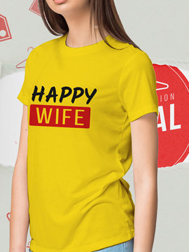 Happy Wife Yellow Unisex Cotton T Shirts