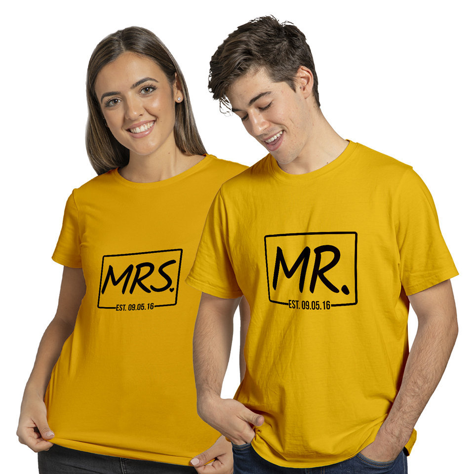 Mrs and Mr | Couples and Family | Round Neck Half Sleeve | Set of Two Pcs | Regular Fit