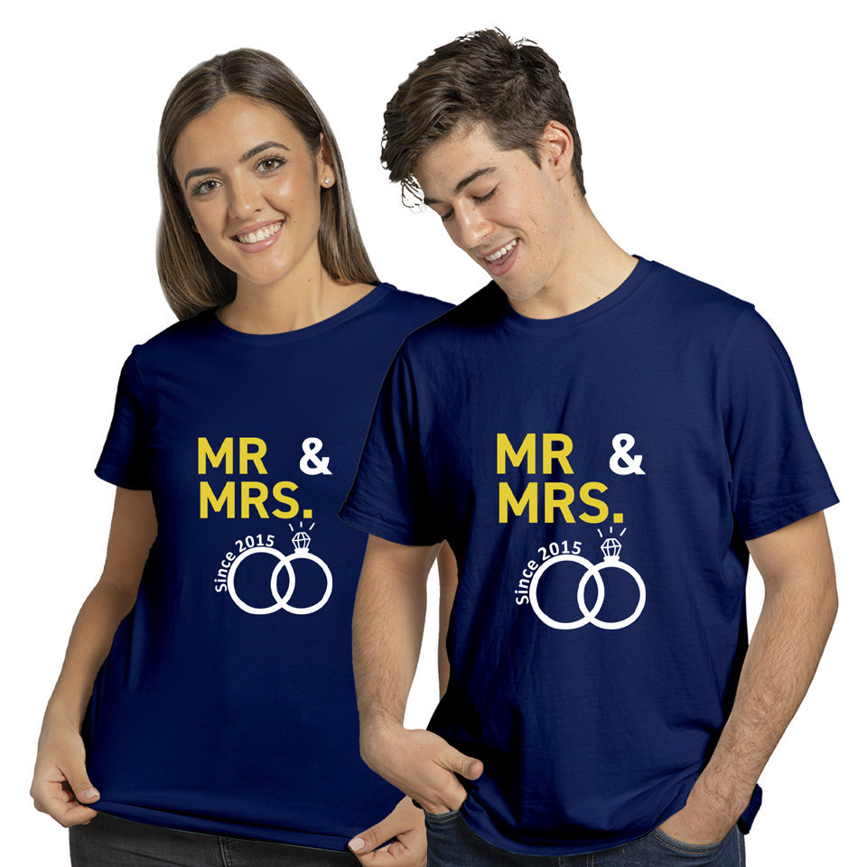Mrs and Mr Ring | Couples and Family | Round Neck Half Sleeve | Set of Two Pcs | Regular Fit