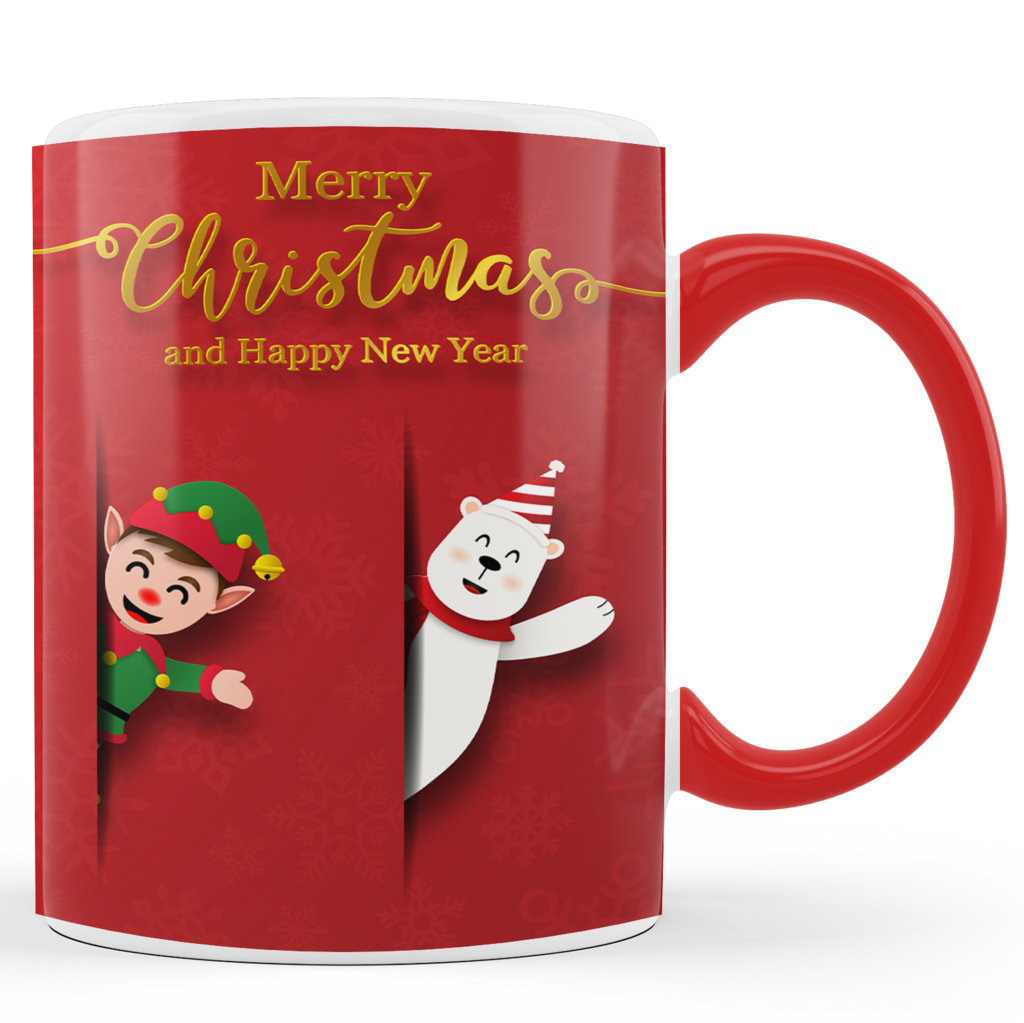 Printed Ceramic Coffee Mug | Merry Christmas & Happy New Year |Merry Christmas Day Mug | 325 Ml