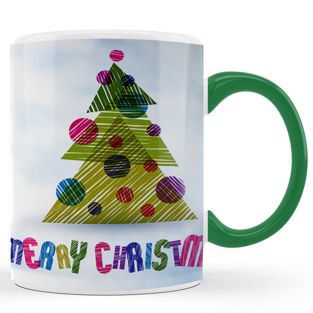 Printed Ceramic Coffee Mug | Merry Christmas Multi Color Printed |Merry Christmas Day Mug | 325 Ml