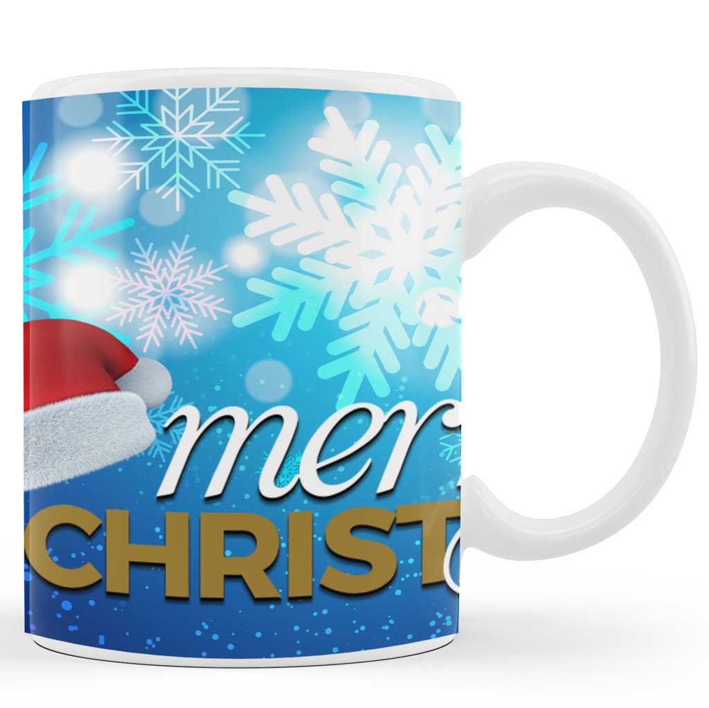 Printed Ceramic Coffee Mug | Santa Cap |Merry Christmas Day Mug | 325 Ml