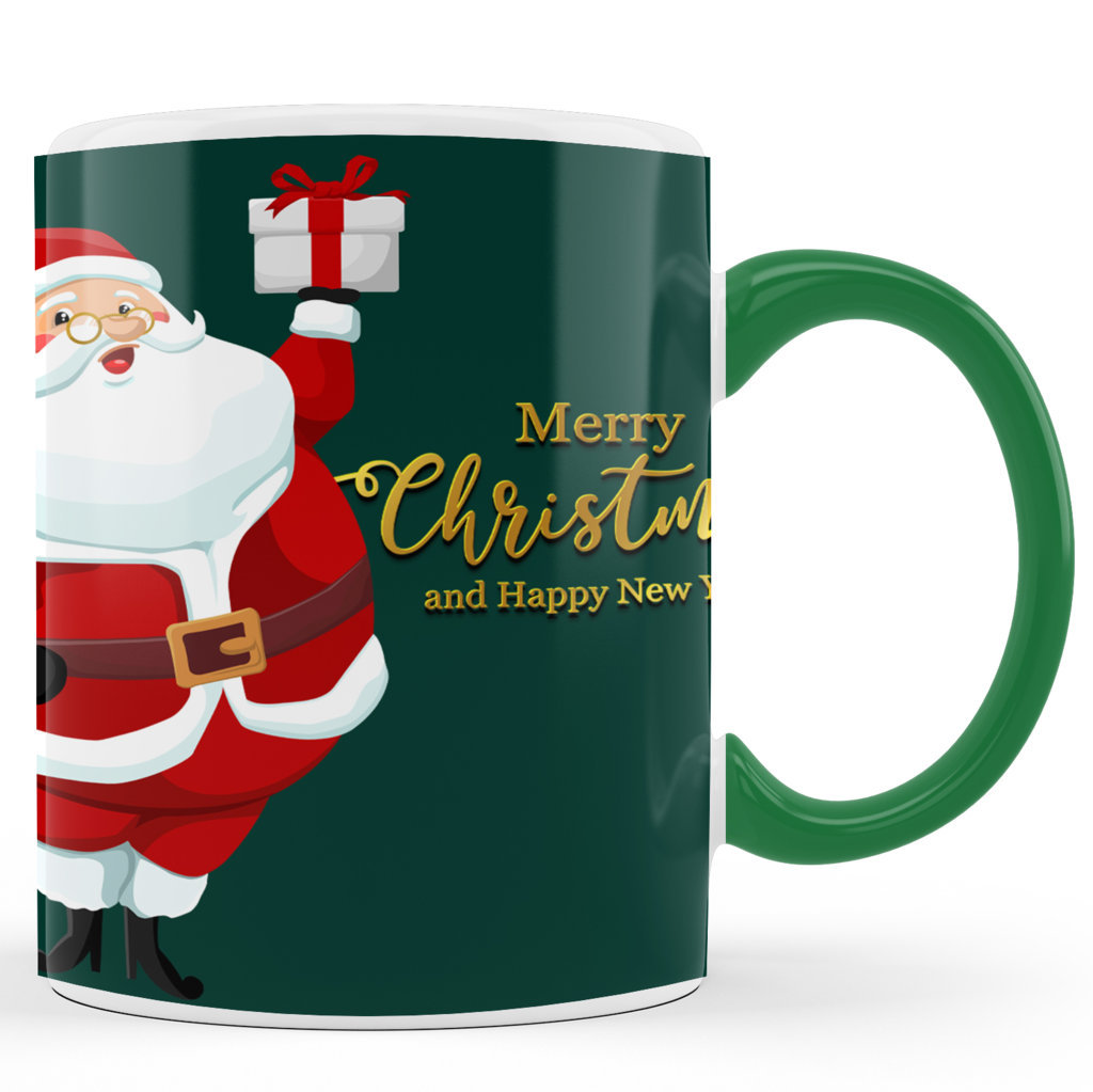 Printed Ceramic Coffee Mug | Merry Christmas & Happy New Year – Green  |Merry Christmas Day Mug | 325 Ml