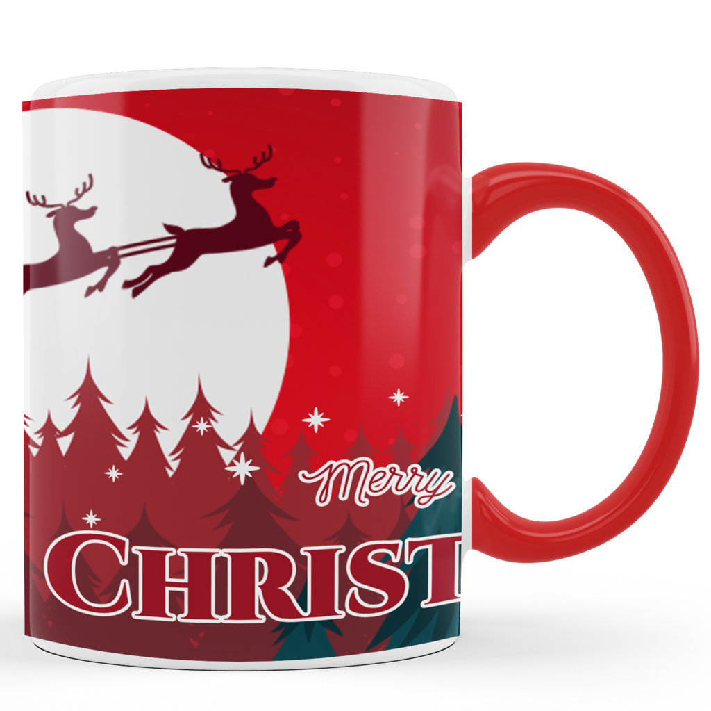 Personalised Printed Ceramic Coffee Mug | Merry Christmas – Red |Merry Christmas Day Mug | 325 Ml