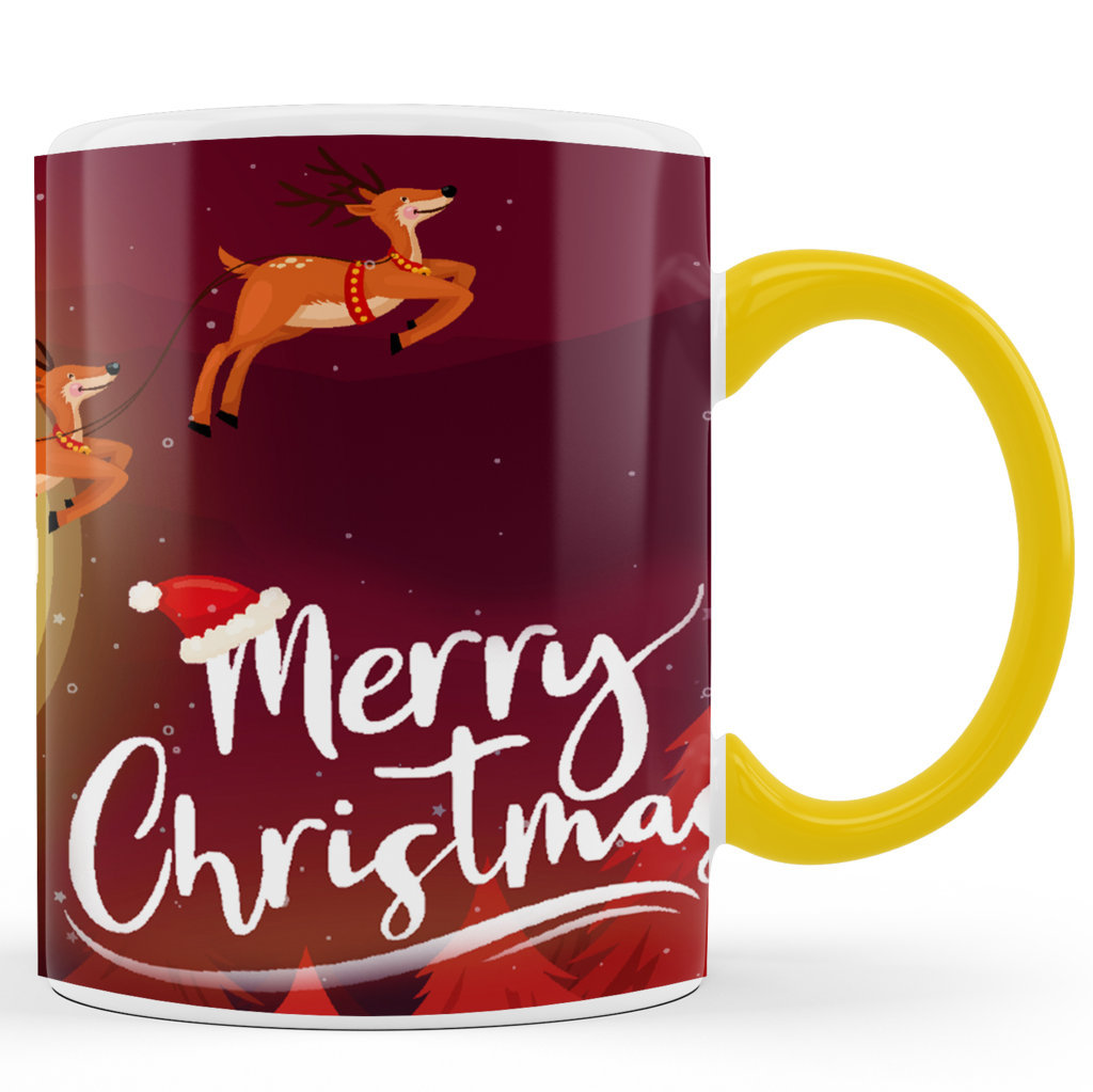Personalised Printed Ceramic Coffee Mug | Merry Christmas Graphics  |Merry Christmas Day Mug | 325 Ml