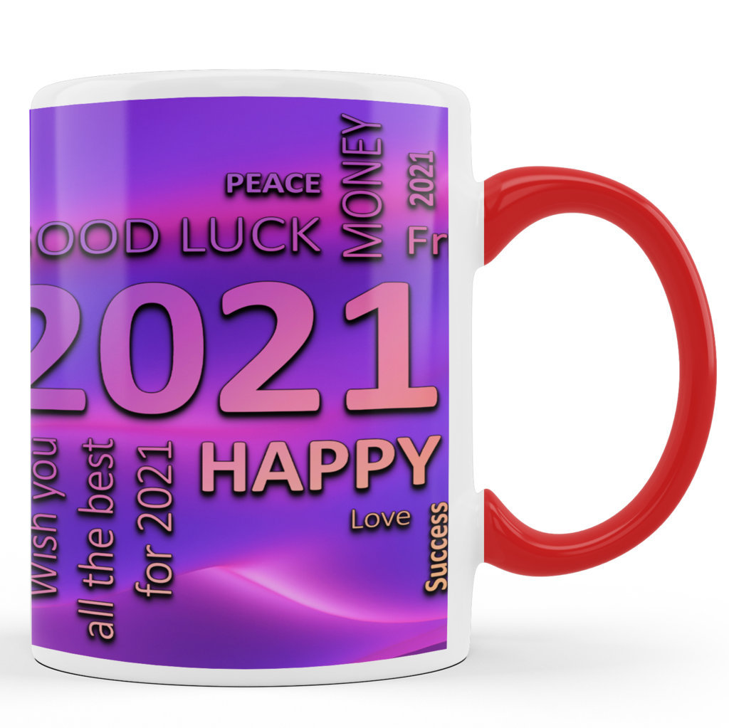Printed Ceramic Coffee Mug | Happy New Year 2021 – Wordart |Happy New Year 2021 Mug | 325 Ml