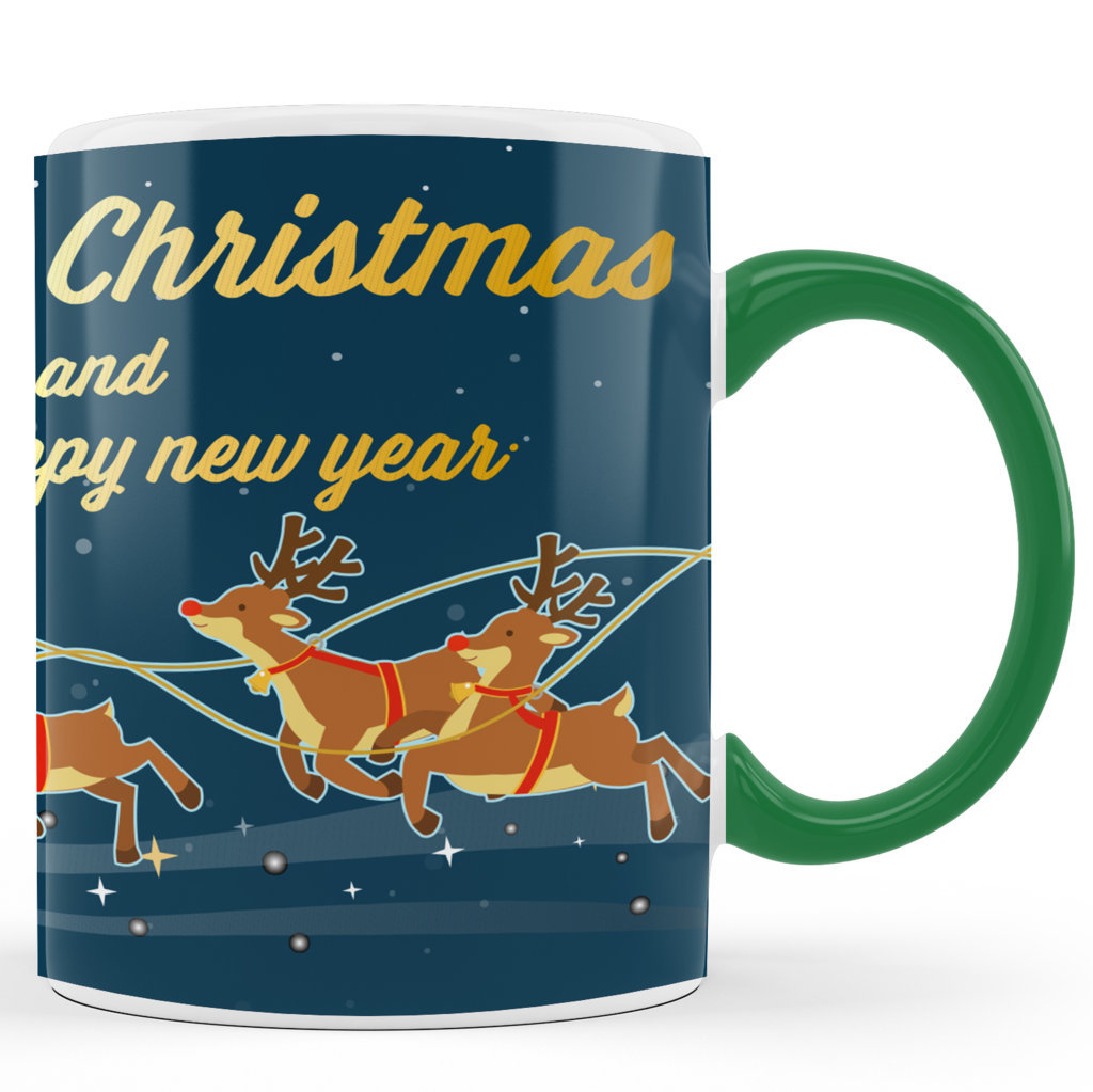 Printed Ceramic Coffee Mug | Merry Christmas & Happy New Year Graphics |Merry Christmas Day Mug | 325 Ml