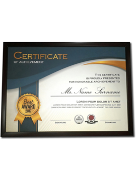 Printed Certificate With A Wooden Frame