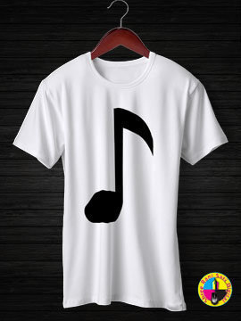 Music Note Thick Round Neck Half Sleeves Cotton Tshirt...