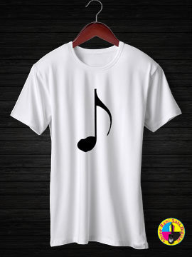 Music Note Thin Round Neck Half Sleeves Cotton Tshirt