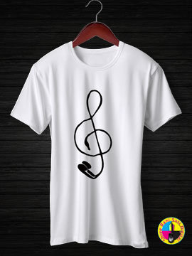 Ear Phone And Music Round Neck Half Sleeves Cotton Tshirt