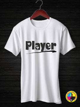 Player Round Neck Half Sleeves Cotton Tshirt