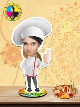 Personalised Caricature On Hardboard Cutout - Female Chef