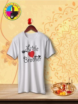 Round Neck White Colour Cotton T-shirt For Little Brother