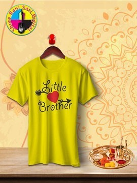 Round Neck Yellow Colour Cotton T-shirt For Little Brother