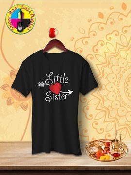 Round Neck Black Colour Cotton T-shirt For Little Sister