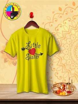 Round Neck Yellow Colour Cotton T-shirt For Little Sister