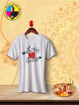 Round Neck White Colour Cotton T-shirt For Little Sister