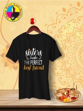 Round Neck Black Colour Cotton T-shirt For Sisters Make Best Friends