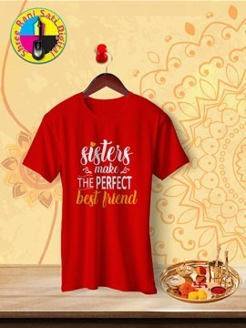 Round Neck Red Colour Cotton T-shirt For Sisters Make Best Friends