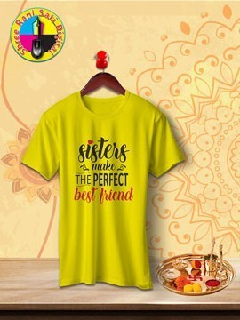 Round Neck Yellow Colour Cotton T-shirt For Sisters Make Best Friends