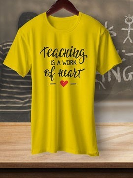 Round Neck Black Colour Cotton T-shirt For TeacherS Day
