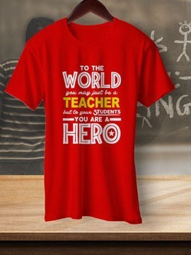 Round Neck White Colour Cotton T-shirt For TeacherS Day