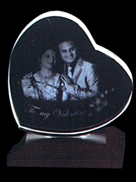Personalised Laser Engraved Heart Shape Crystal (1143C)